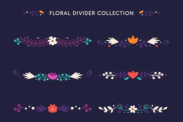 8款创意花卉花边分割线矢量图