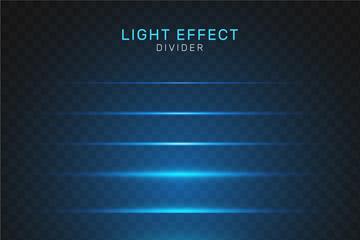 7款蓝色光效分割线矢量素材