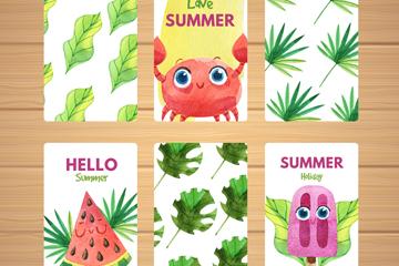 6款彩绘夏季卡片设计矢量素材