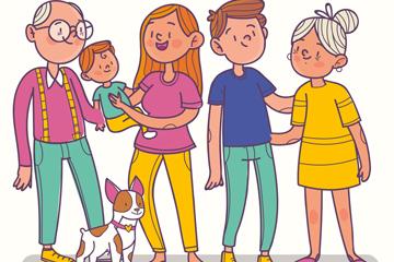 创意大家庭五口之家矢量素材
