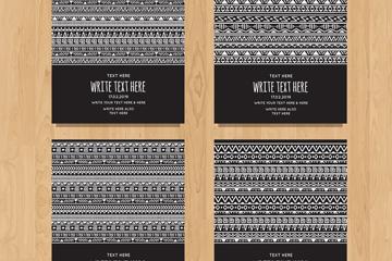 4款白色波西米��花�y卡片矢量�D