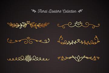 10款金色光泽花纹分割线矢量图