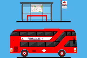 红色公交车和候车亭矢量素材