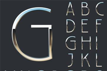 26���y色金�俅��字母矢量素材