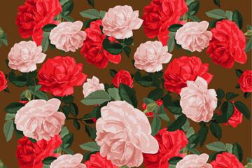 粉色和�t色玫瑰花�o�p背景矢量�D