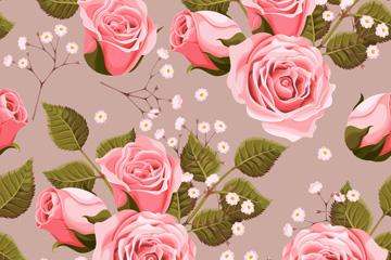 粉色玫瑰花无缝背景矢量图