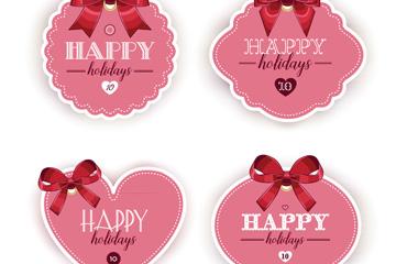 4款粉色假期快乐标签矢量图