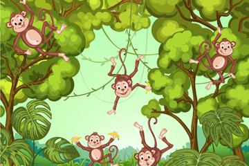 卡通丛林里的猴子矢量素材