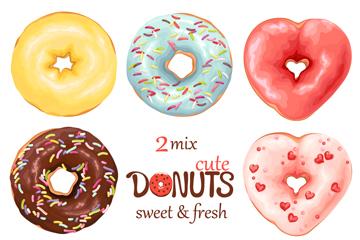 8款彩色甜甜圈�O�矢量素材