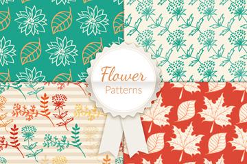4款彩色花卉和叶子无缝背景矢量