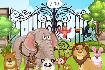 卡通动物园大门和动物矢量素材
