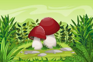 卡通郊外草地里的蘑菇矢量素材