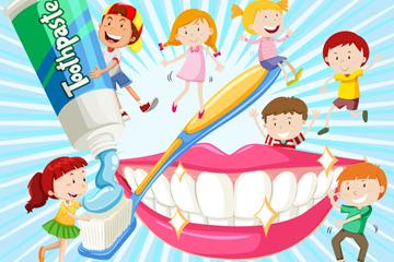 卡通用牙刷刷牙的7个儿童矢量图
