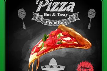 创意墨西哥餐馆披萨海报矢量图