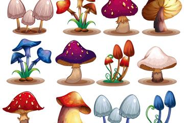12款卡通蘑菇设计矢量素材