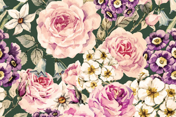 复古各色花卉无缝背景矢量素材