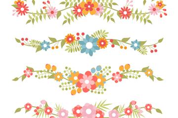 4款彩色花卉花��O�矢量素材