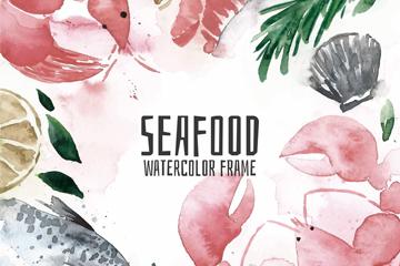 水彩绘海鲜框架矢量素材
