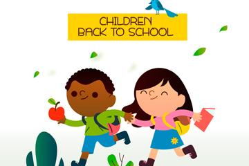 可爱跑向学校的2个返校儿童矢量