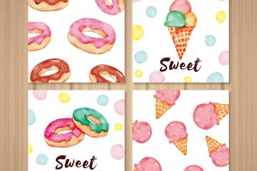4款彩绘甜品卡片矢量素材