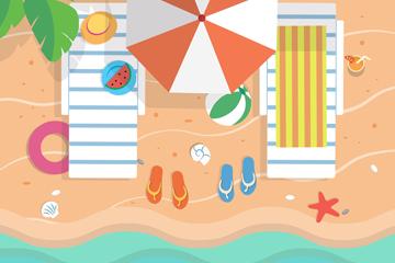 创意海边度假风景俯视图矢量图