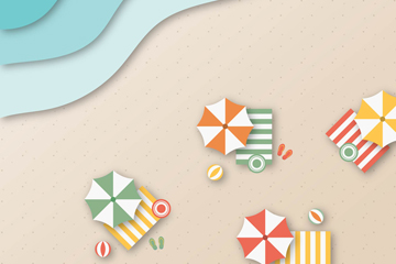 夏季度假沙滩俯视图矢量素材