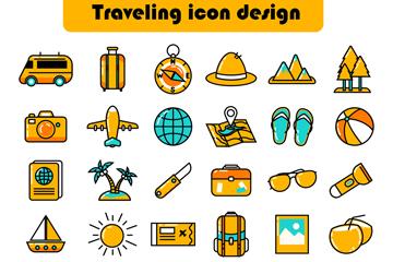 36款彩色旅行元素图标矢量素材