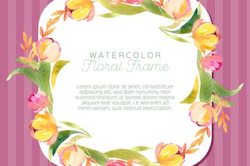 水彩�L花卉框架矢量素材