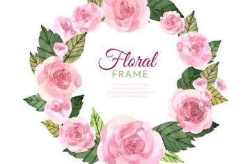 水彩�L粉色玫瑰框架矢量素材