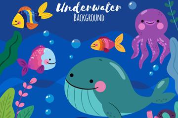 可爱海底世界动物矢量素材