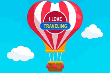 创意天空中的爱心条纹热气球矢量图