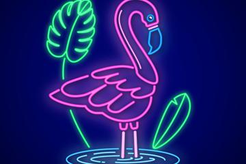 彩色池塘里的火烈鸟霓虹灯矢量图