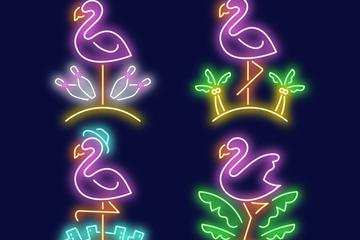 4款彩色火烈鸟和绿叶霓虹灯矢量素材