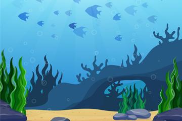 创意海底世界鱼群风景矢量素材