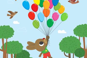 可爱兔子和气球束矢量素材