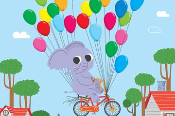 可爱骑气球单车的大象矢量素材