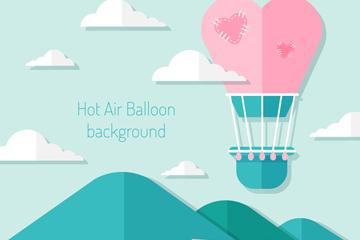 扁平化天空中的爱心热气球矢量图