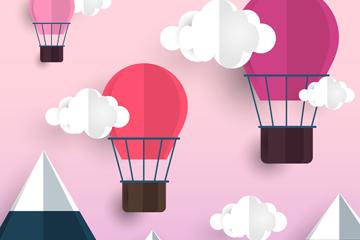 创意雪山上空的热气球矢量素材