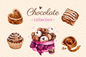 8款水彩�L美味巧克力矢量�D