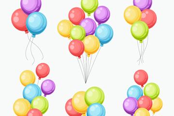 6款彩色气球束设计矢量素材