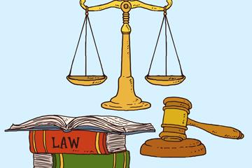 3款彩�L法律元素�O�矢量素材