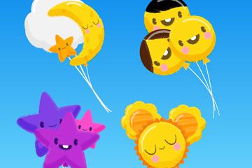 4组可爱表情气球束设计矢量图