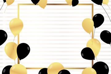 黑色和金色气球框架矢量素材