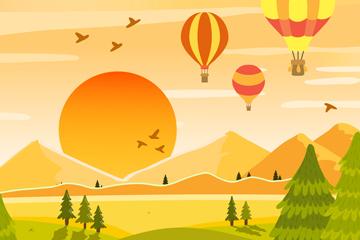 创意郊外夕阳下的热气球风景矢量图