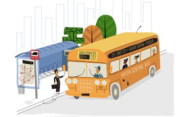 彩绘公交车和候车亭矢量素材