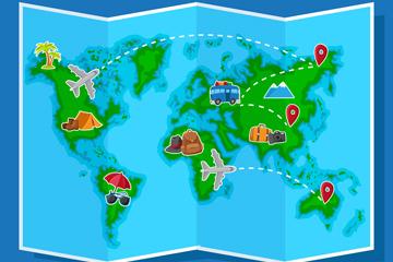 蓝色四折页世界地图矢量素材