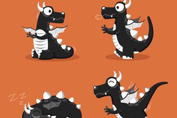 4款可爱黑色龙设计矢量素材