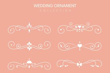 8款白色婚礼花纹花边矢量图