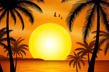 美丽夕阳下的大海沙滩风景矢量图