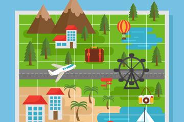 创意地图上的旅行风景矢量素材
